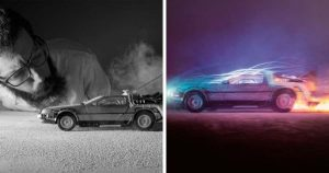 Фотограф создал потрясающе реалистичные снимки, используя игрушечный автомобиль DeLorean.