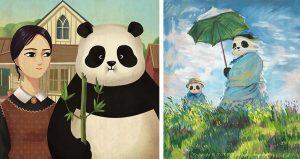 Известные классические картины, которые с пандами стали только лучше.
