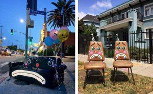 Художник из Лос-Анджелеса дорисовывет рожи грустных клоунов на хламе