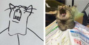 Ужасные каракули с кошками, которые в действительности являются копиями настоящих животных.