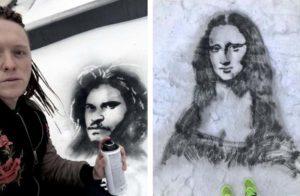Художник и его портреты известных людей на снегу